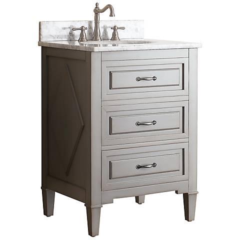"""Avanity Kelly 24"""" White Top Grayish Blue Single Sink Vanity"""