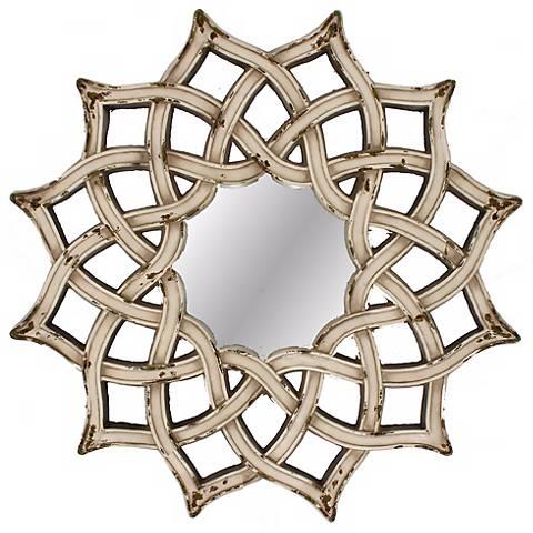 "Celtic Off White 29"" Square Wall Mirror"