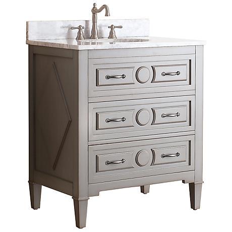 """Avanity Kelly 30"""" White Top Grayish Blue Single Sink Vanity"""