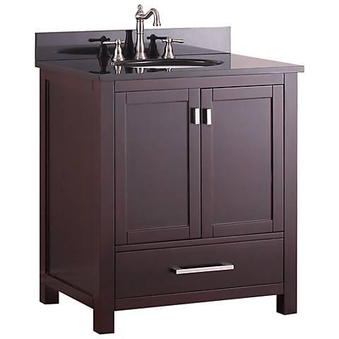 "Avanity Modero 30"" Black Top Espresso Single Sink Vanity"