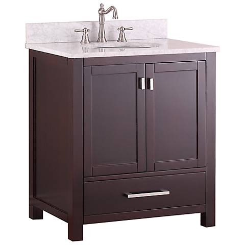 "Avanity Modero 30"" White Top Espresso Single Sink Vanity"