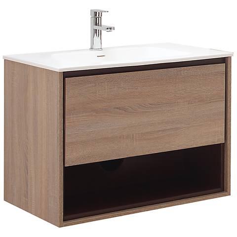 """Avanity Sonoma 31"""" White Top Restored Khaki Wood Vanity"""