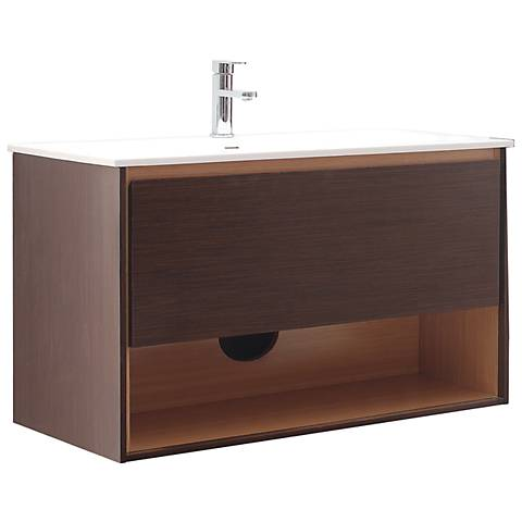 "Avanity Sonoma 39"" White Top Iron Wood Single Sink Vanity"