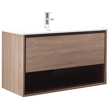 """Avanity Sonoma 39"""" White Top Restored Khaki Wood Vanity"""
