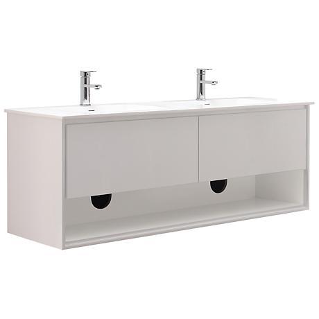 "Sonoma 63"" White Top Glossy White Double Sink Vanity"