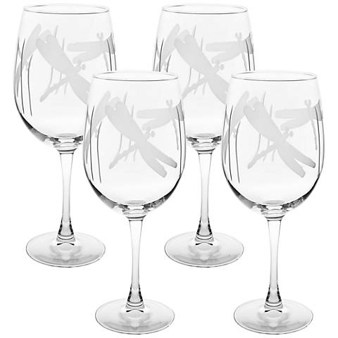 Dragonfly Engraved All-Purpose Wine Glass Set of 4