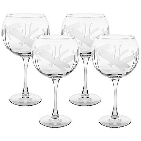 Dragonfly Engraved Balloon Glass Set of 4