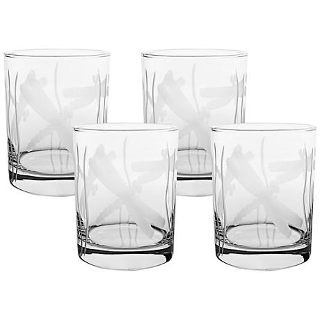 Dragonfly Engraved Double Old Fashioned Glass Set of 4