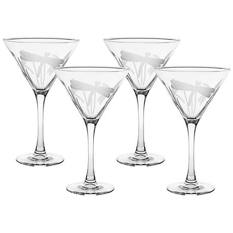 Dragonfly Engraved Martini Glass Set of 4