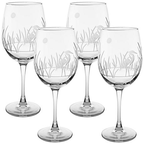 Heron Engraved All-Purpose Wine Glass Set of 4