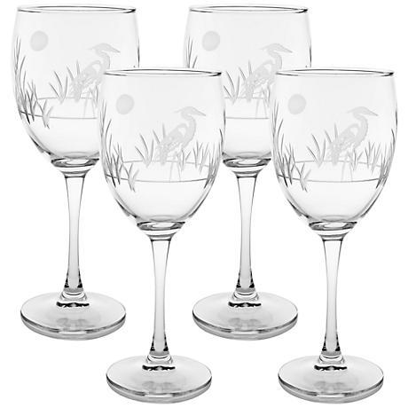 Heron Engraved Goblet Glass Set of 4