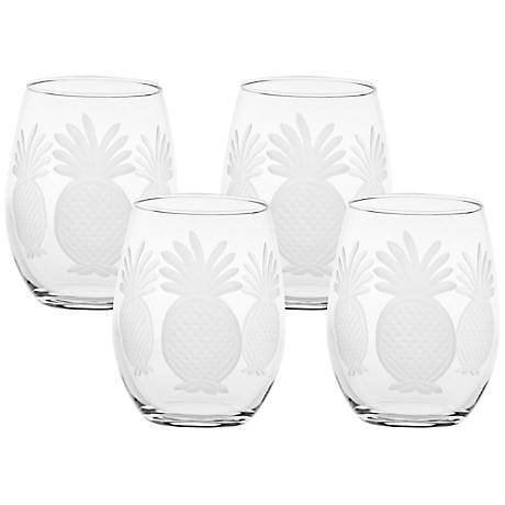 Pineapple Engraved Red Wine Tumbler Glass Set of 4