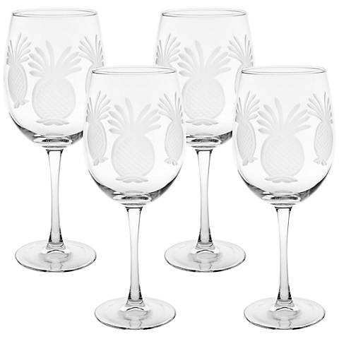 Pineapple Engraved All-Purpose Wine Glass Set of 4