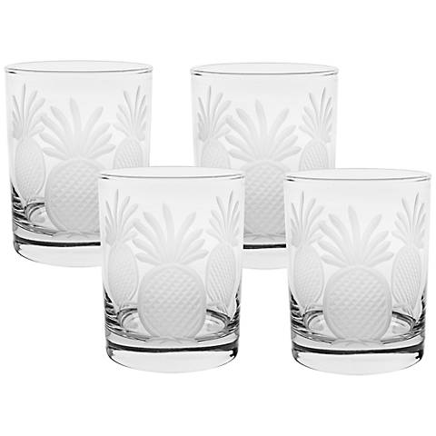 Pineapple Engraved Double Old Fashioned Glass Set of 4