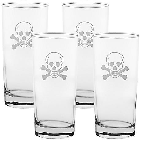 Skull & Cross Bones Engraved Cooler Glass Set of 4