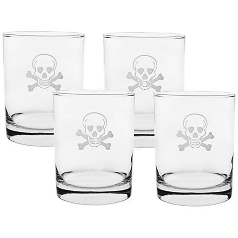 Skull & Cross Bones Engraved DOF Glass Set of 4