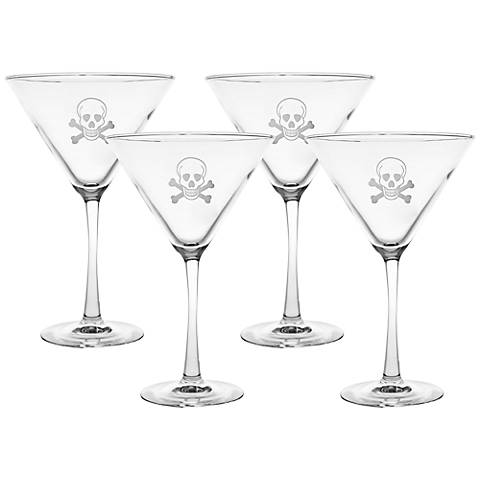Skull & Cross Bones Engraved Martini Glass Set of 4