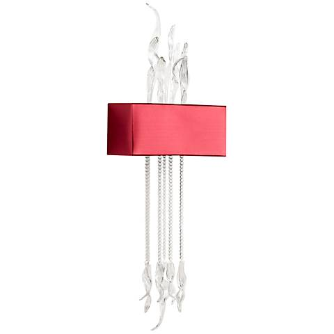 """Islet 17"""" Wide Clear Glass and Red Wall Sconce"""