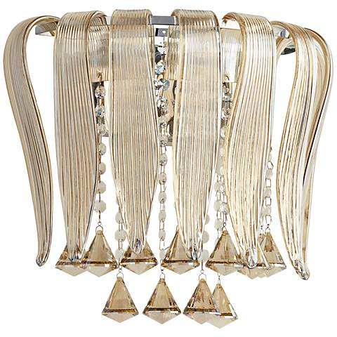 "Olivia 12 1/4"" Wide Cognac Glass Wall Sconce"