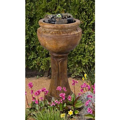 "Henri Studio 37"" High Maple Leaf Tall Patio Bubbler Fountain"