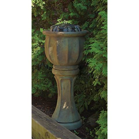 "Henri Studio 37""H Nebbia Petals Tall Patio Bubbler Fountain"