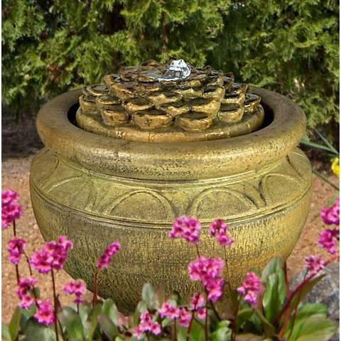 """Henri Studio 17""""H Relic Nebbia Dahlia Patio Bubbler Fountain"""