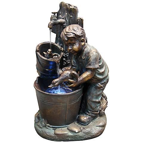 """Boy and Duck Bucket LED Indoor - Outdoor 27""""H Floor Fountain"""