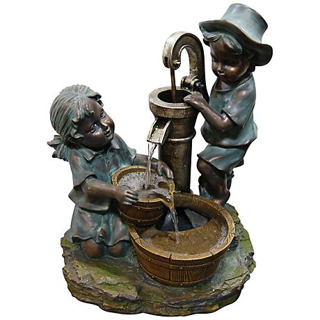 Fetching Boy and Girl Tabletop Indoor - Outdoor Fountain