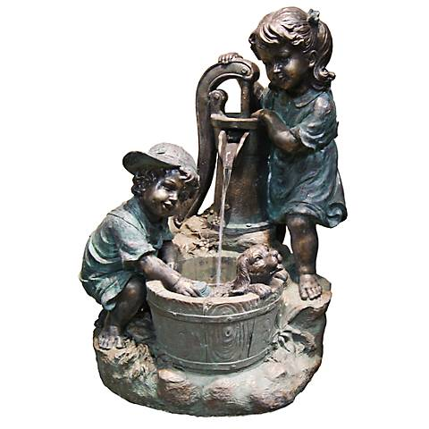 "Kids at Pump LED Indoor - Outdoor 33"" High Floor Fountain"
