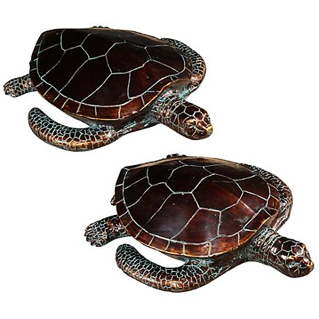 Crestview Collection Antique Bronze Sea Turtles Set of 2