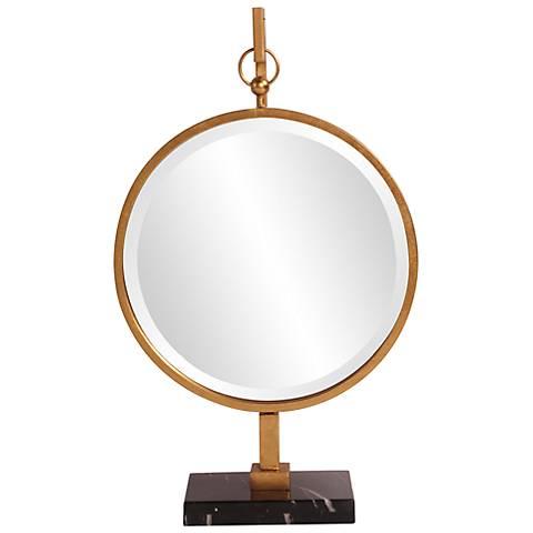 """Howard Elliott Bright Gold Medallion 18"""" x 30"""" Mirror"""