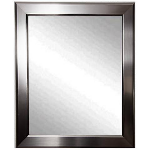 "Ezel Silver Round Edge Minimal 28"" x 34"" Wall Mirror"