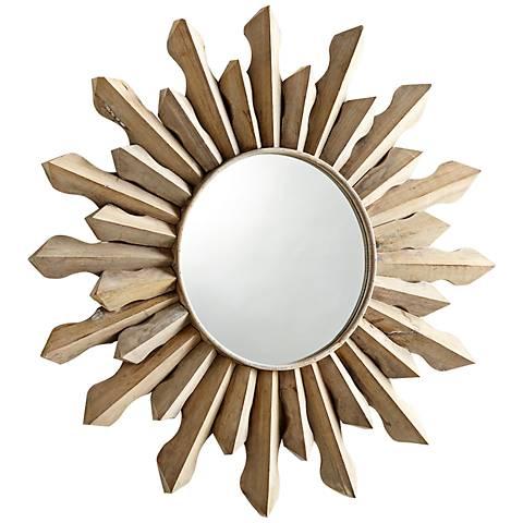 """Sol Sunburst 36 3/4"""" Round Wood Wall Mirror"""