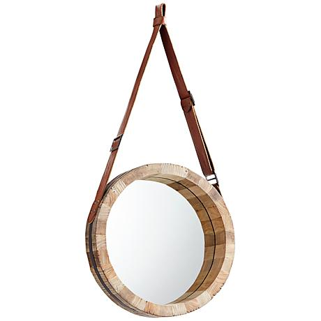 """Canteen Wood 15 3/4"""" Round Small Wall Mirror"""