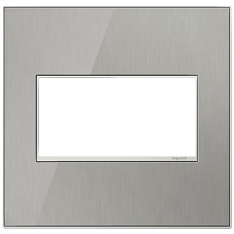 adorne® 2-Gang Brushed Steel Wall Plate