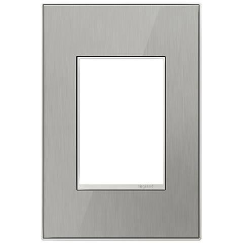 adorne® 1-Gang 3-Module Brushed Steel Wall Plate