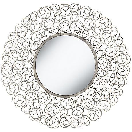 """Rosette White Wash 25 1/4"""" Round Openwork Wall Mirror"""