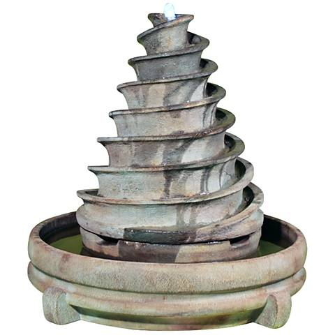 "Henri Studio 37"" High Relic Fumato Piroetta Fountain"