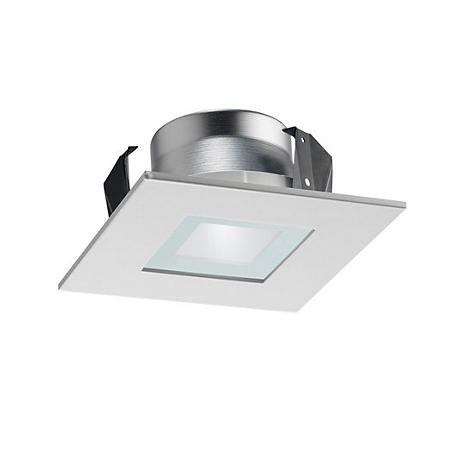 "Juno Line Voltage White Glass 4"" Square Lensed Trim"
