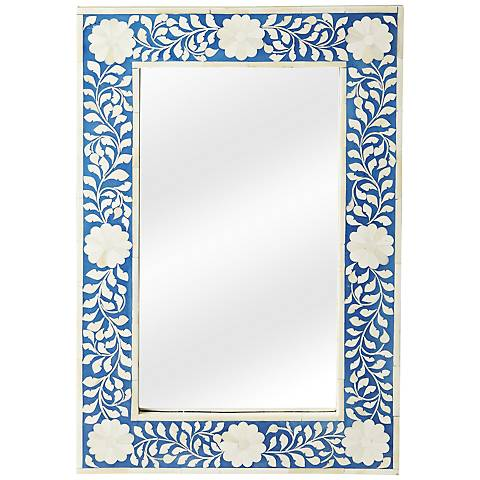 "Olivia Blue Bone Inlay 16"" x 24"" Wall Mirror"