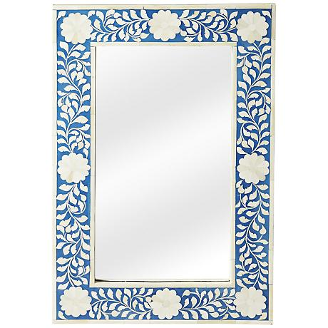 "Olivia Blue Bone Inlay 16"" x 24"" Wall Mirror"