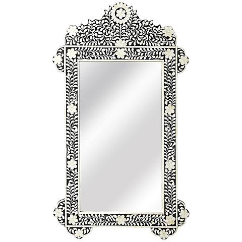 """Vicario Black Bone Inlay 28"""" x 48"""" Wall Mirror"""