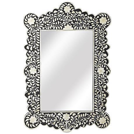 "Melia Black Bone Inlay 24"" x 36"" Wall Mirror"