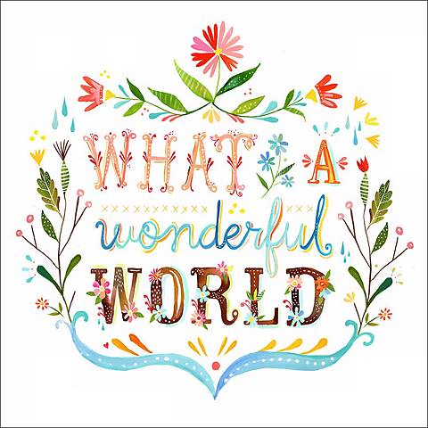 """What a Wonderful World 18"""" Square Canvas Wall Art"""
