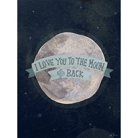 """I Love You To The Moon - Blue 24"""" High Canvas Wall Art"""