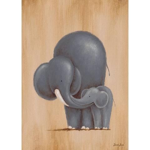 "Safari Kisses - Elephant 14"" High Canvas Wall Art"