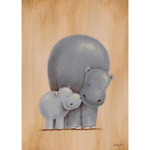 "Safari Kisses- Hippo 14"" High Canvas Wall Art"