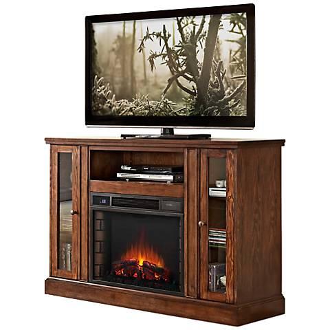 Rogan Oak Media Console Electric Fireplace