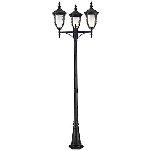 "Bellagio™ Collection 96"" High 3-Light Post Light in Black"