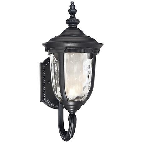 "Bellagio™ 16 1/2"" High Black Up Arm LED Outdoor Light"
